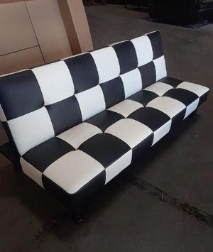 Brand New White & Black Checkered Leather Tufted Futon for Sale in Renton, WA