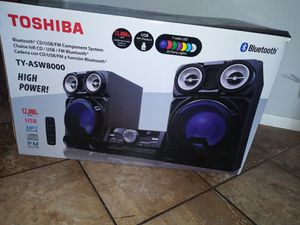 Toshiba TY-ASW8000 800 Watt Bluetooth Stereo Sound System: Wireless Mini Component Home Speaker System with LED Lights for Sale in San Francisco, CA