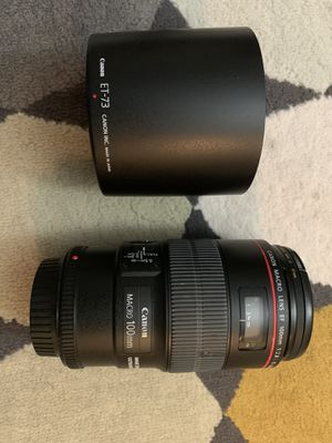 Canon Macro Lens EF 100 mm f2.8 with hood for Sale in Houston, TX