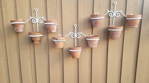 $75.00 - Planter Iron Wall Art! Offer is for (3) Iron Pot Holders + (9) Terracotta/Clay Plant Pots - All in Great Condition! for Sale in Miami, FL