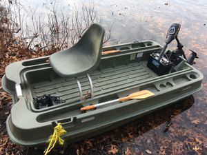 John boat with mini Kota trawling motor and new marine deep cycle battery for Sale in Plainville, MA