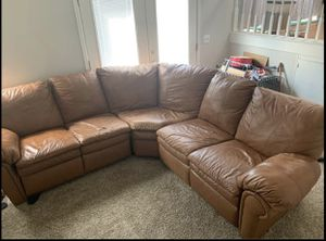 Tan Reclining 3 Piece Leather Sectional Couch for Sale in Thornton, CO