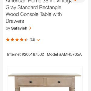 """American Home 36"""" Vintage Gray Standard Rectangle Wood Console Table With Drawers for Sale in Jonesboro, GA"""