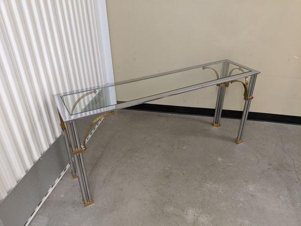 Milo Baughman MCM chrome brass & glass console table