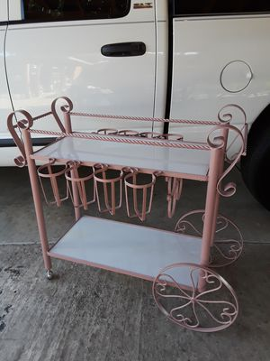 Early 20th century wrought iron bar cart for Sale in Fresno, CA