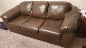 Leather Couch, Dresser Queen Bed frame for Sale in San Antonio, TX