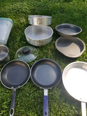 Pans and plastic storage container for Sale in Aurora, OR