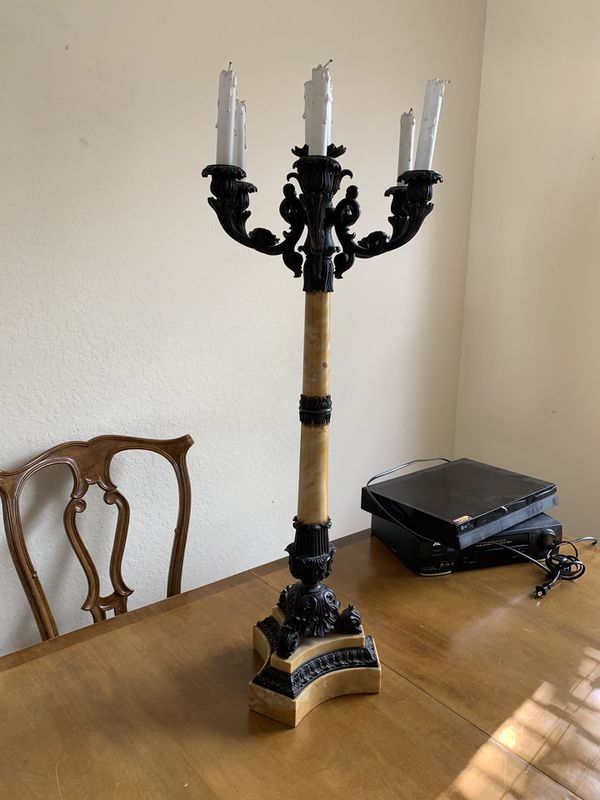 Sienna marble cast iron candelabra candle holder lamp antique