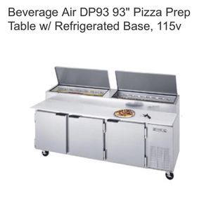 """Used, Beverage Air DP93 93"""" Pizza Prep Table w/ Refrigerated Base, 115v for Sale for sale  Bronx, NY"""