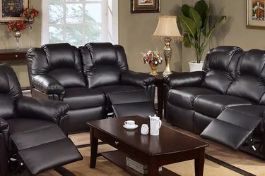 BLACK BONDED LEATHER 3 PIECE LIVING ROOM RECLINER SET SOFA LOVESEAT ARM CHAIR - SILLONES RECLINABLES for Sale in Los Angeles,  CA