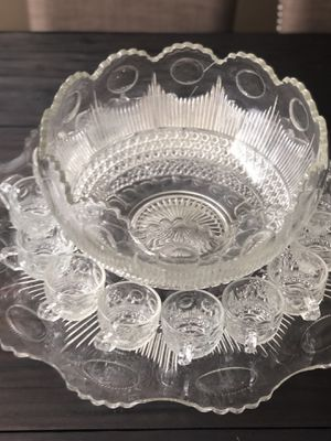 Crystal Punch Bowl with platter and cups for Sale in Anaheim, CA
