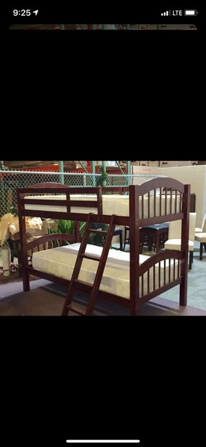 Twin over twin bunk bed frame with mattresses for Sale in Grand Prairie, TX