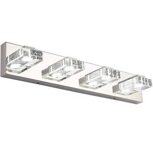 Bathroom Light,SOLFART 4 Lights Modern Glass Stainless Steel Vanity Wall Light Over Mirror Long LED Dimmable Bathroom Lighting for Sale in Ontario, CA