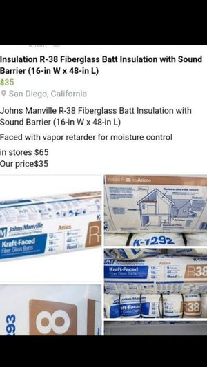 Johns Manville Insulation R38 for Sale in San Diego, CA