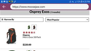 Ospry exos58 day pack for Sale in Portland, OR