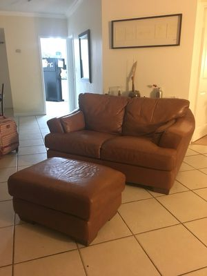 Real leather couch with ottoman for Sale in Miami, FL