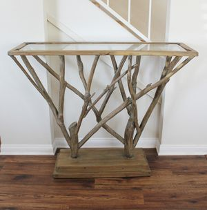 Rustic Natural Wood Tree Brach Sofa Entry Console Table with Glass Top for Sale in Oceanside, CA
