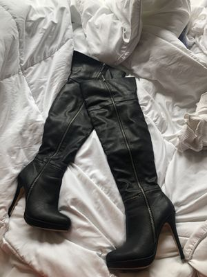 Thigh high black leather boots Antonio Melani size 7.5 for Sale in Largo, FL