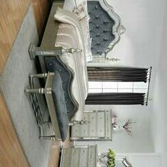 Sterling Silver Mirrored Poster Bedroom Set for Sale in Spring, TX
