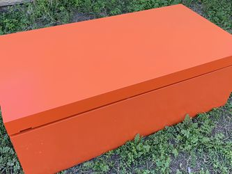 Orange Bed End Shoe Storage Chest Trunk Style Footlocker Box Sliding Top Ottoman Mid Century Color Style for Sale in Los Angeles,  CA