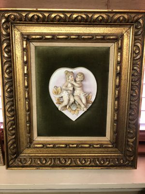 Vintage Porcelain Cherub Framed Picture for Sale in Pelham, AL