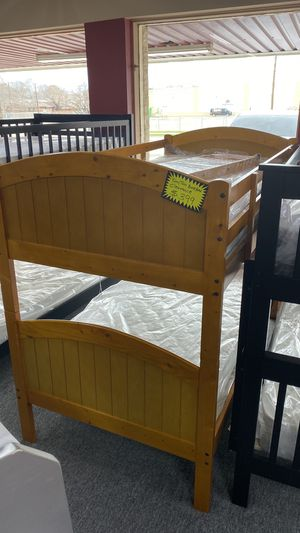 Bunkbed Bunk Bed Twin over Twin Size Light Walnut Color JFQS for Sale in Euless, TX