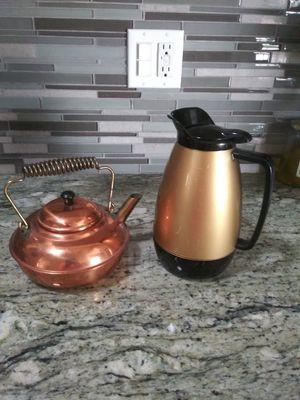 Copper tea pot 10.00. Warmer 5.00 for Sale in Whittier, CA