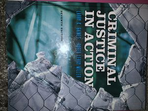 Criminal Justice In Action 7th Edition - Gaines and Miller - Textbook for Sale in Rockville, MD