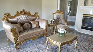 Luxury 100% wood Italian sofa and loveseat handmade for Sale in Baltimore, MD