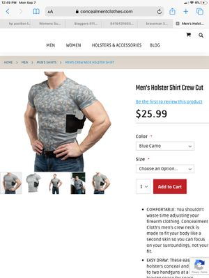 Men's Holster Shirt Crew Cut, concealed carry, new in package, size 3X for Sale in Port Richey, FL