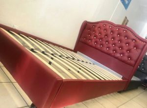 Brand New Queen Size Burgundy Leather Platform Bed Frame for Sale in Silver Spring, MD