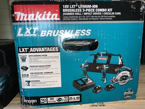 Brand new makita lxt brushless hammer drill/impact/circular saw 2 batteries and charger bonus tool bag firm price for Sale in Plant City, FL