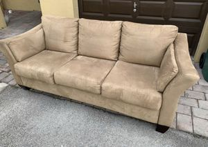 LIKE NEW. Beige Sofa bed with NEW mattress! Super soft suede material. for Sale in Medley, FL