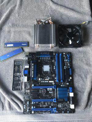 Msi z77A-GD65 mobo, hyperX blu KHX1333C9D3B1K2/8G 2x4gb RAM, intel I5 3570k CPU, cooler master hyper T4 heatsink w/ fan bundle for Sale in Mission Viejo, CA