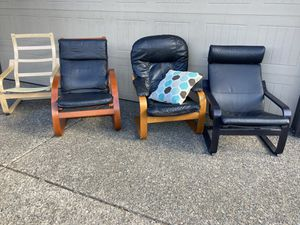 Black leather Poang chairs for Sale in Beaverton, OR