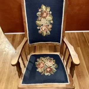 Vintage Wood Rocking Chair Needlepoint Roses VictorianAntique Blue Rocker for Sale in Nashville, TN
