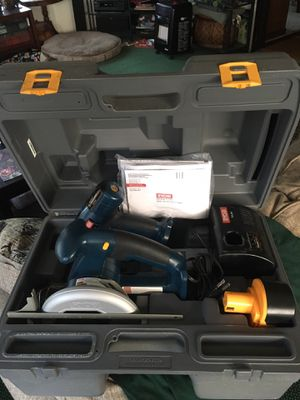 Ryobi power tool set with carrying case drill, saw, with new batteries and charger $75 for Sale in Varna, IL