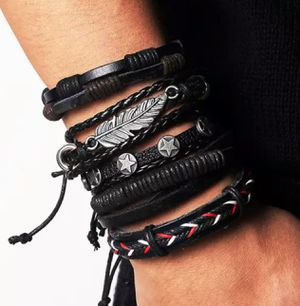 Vintage Leather Hand-knitted Multi-layer Leather Feather Bracelet for Sale in Wichita, KS