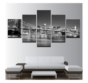 Black & White Brooklyn Bridge 5 Piece HD Multi Panel Canvas Wall Art Frame for Sale in Lynchburg, VA