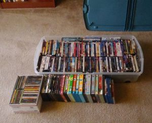 164 DVDs/Blu-Rays/Seasons of shows and a FREE box of music CDs! for Sale in Auburn, WA