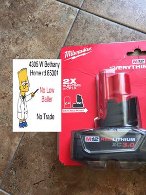 Milwaukee 12M 3.0 battery (No Trade) for Sale in Glendale, AZ