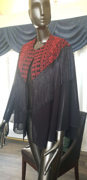 Black Chiffon Cape / Jacket with red Embroidery Modern Style with black Fringe for Sale in Orlando, FL
