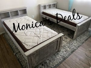 Twin solid wood beds & bamboo mattresses $500 for Sale in Long Beach, CA