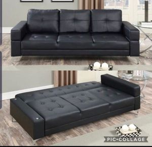 Sofa bed sleeper futon black leather new for Sale in Beverly Hills, CA