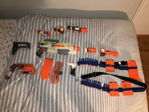 Nerf modulus, nerf hammers shot, bandolier, and extra attachment with darts for Sale in Potomac, MD