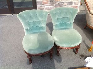 Pair of Unique Victorian Slipper Chairs - very good condition for Sale in Cranberry Township, PA