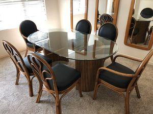 Glass dining room table with leather chairs for Sale in Costa Mesa, CA