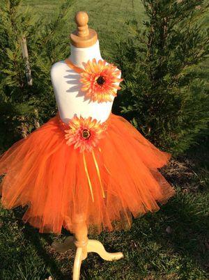 Orange tutu skirt with matching headband for Sale in Manassas, VA