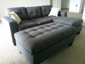 Brand New Grey Linen Sectional Sofa Couch + Ottoman for Sale in Chevy Chase, DC