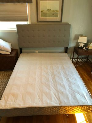 Queen Grey Fabric Headboard with bed frame for Sale in Virginia Beach, VA